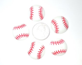 Baseball Cabochons SET of 5 pieces hairbow flatback resins DIY scrapbook