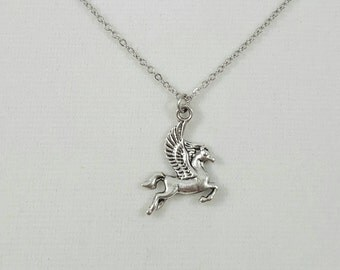Silver Pegasus Necklace, Winged Horse Necklace