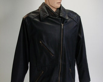 Vintage Motorcycle Jacket, Men's, Leather, Black, Large