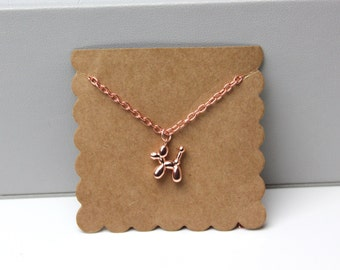 Rose Gold Balloon Dog Animal Necklace // dainty rose gold necklace // with gift packaging
