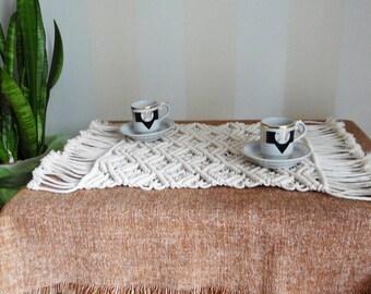 Macrame runner Macrame coffee table runner Macrame tablecloth Modern macrame decor Boho home decor Macrame table decor Bohemian decor