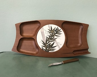 Vintage Bamboo Design Cheese and Cracker Mahogany Wood Serving Tray Made in Japan