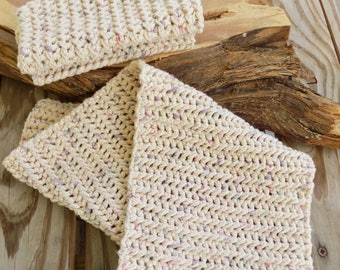 2 Dishcloth and 1 Hand Towel Cotton Crochet Kitchen Set