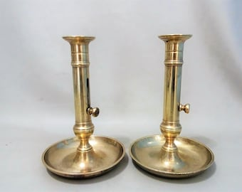 Two antique brass blaks with sliding mechanism-age around 1900-candlestick yellow Copper