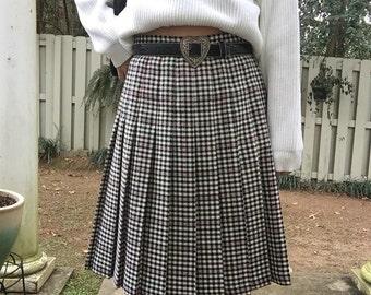 Vintage Checkered Pleated Midi Skirt