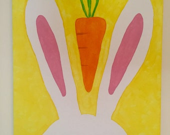 Bunny Rabbit and Carrot Canvas Painting