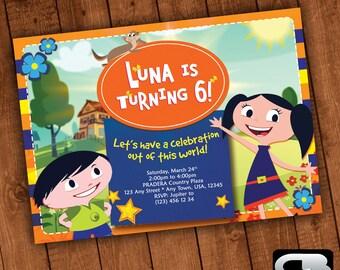 Earth to Luna Invitation - Earth to Luna Invite - Earth to Luna Invitation - Earth to Luna Birthday Party - Digital File Download