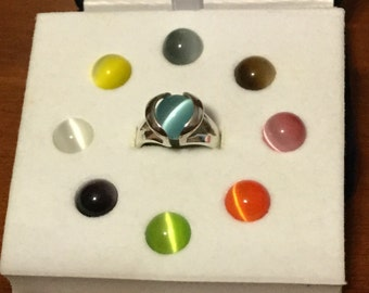 Silver 925 ring with 9 different interchangeable cabochons