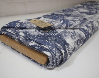 Butterfly print fabric - white and indigo open weave - cotton-linen feel