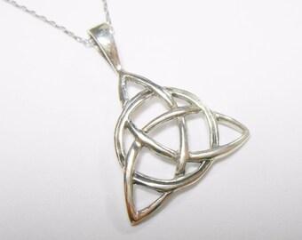 "Vintage Celtic Knot Pendant, Sterling Celtic Knot, Vintage Genuine Sterling Silver Celtic Knot Pendant Necklace 18"" #1639"