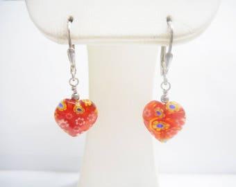 Millefiori Earrings, Sterling Earrings, Dangle Earrings, Leverback Earrings, Sterling Silver Red Millefiori Dangle Earrings #2696