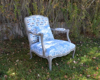 Chevron and Flower French Accent Chair, Living Room Chair, Bedroom Chair, Throne Chair, Upholstered Chair, Blue Chair, French Chair