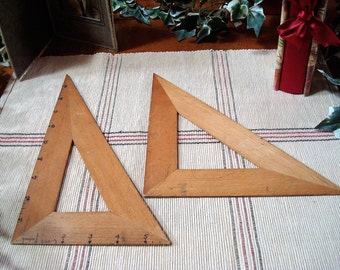 Pair of Vintage Wooden Architectural Drafting Triangles Made in Germany