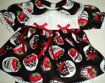 """Cabbage Patch 16"""" Doll Dress / Outfit - Strawberries Dipped in Chocolate"""