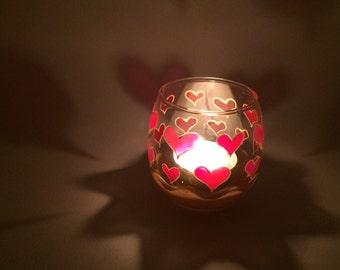 Hand Painted love heart small tea light holder