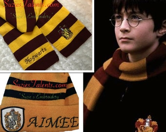 Embroidery, Personalized Harry Potter Scarf/Hat set, your name on Harry Potter Scarf
