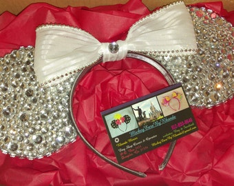 Bling Mickey Ears with White Bow