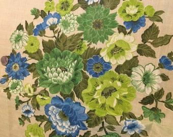 Vintage Sheer Cotton 1950s Large Floral  Border Print Light Green Teal Olive Green Blue
