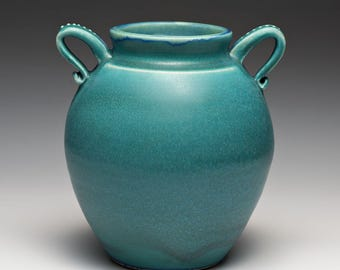 Hand Thrown Aqua Blue Stoneware Vase