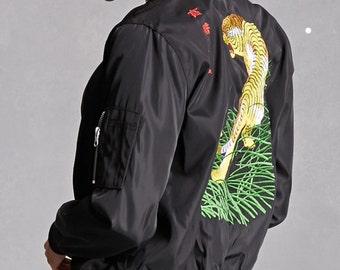 Black Tiger Bomber Jacket