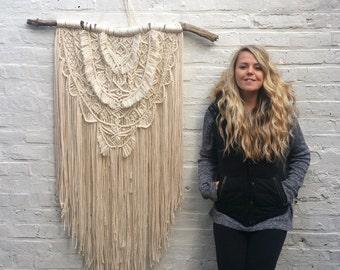 Large Macrame wall hanging/large wedding backdrop/bohemian wall tapestry/wedding decor/vintage weaving/talisman/mandala wall hanging