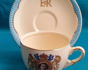 Queen Elizabeth II 1953 Coronation Cup and Saucer Set/Queen Elizabeth II Commemorative Cup & Saucer Set/Coronation Commemorative Cup Set