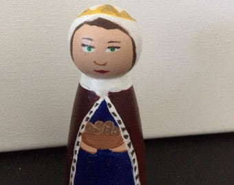 St. Elizabeth of Hungary  hand-painted wooden peg doll