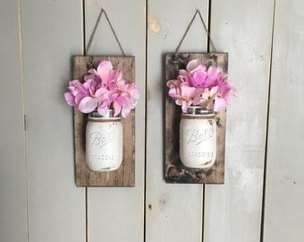 Wall Sconce | Wood Wall Sconce Set | Mason Jar Sconce | Mason Jar Decor | Rustic Decor | Individual Mason Jar Sconce | Floral Wall Sconce