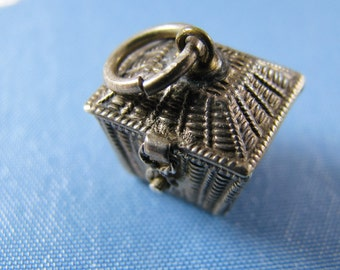 Victorian Mechanical Silver Kitty Cats Charm - Kittens in a Basket