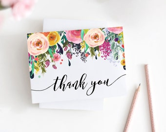 Printable Floral Thank You Card, Watercolor Folded Thank You Card, Bridal and Baby Shower, Note Card, PDF, JPG, Instant Download, MAM106_06