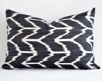 Gray Ivory Ikat Silk Pillow Designer Ikat Pillow Ikat Throw Pillow Gray Pillows Chevron Cushion Cover Bohemian Chic Decor Off White Gray