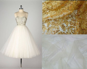 Custom Made 1950's Gold Sequin top Strapless Tulle Wedding Dress