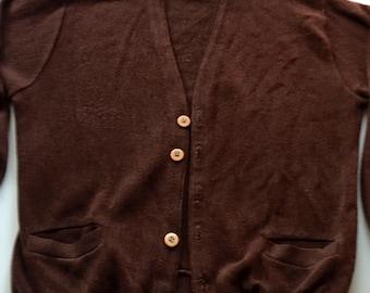 Vintage Cardigan sweater 1960's brown cardigan medium
