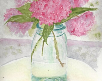Pink Hydrangeas Ball Jar