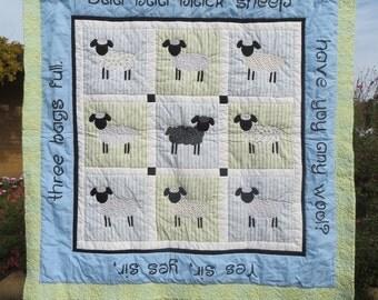 Handmade Baa Baa Black Sheep Nursery Rhyme Baby Quilt in Blue