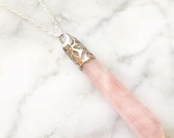 "Rose Quartz Necklace • Sterling Silver 24"" Chain • Laser Cut Pendant • Rose Quartz Crystal • Gemstone • Quartz Pendant"