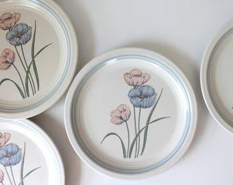 Vintage Stoneware Plates, Set of 4; Salad Plates, Dessert Plates, Baker Hart Stuart