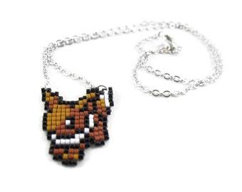 Eevee Necklace - Pokemon Necklace Pixel Sprite Seed Bead Necklace Pixel Necklace Eeveelutions Necklace Pokemon Jewelry