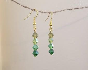 Green Ombre Glass Drop Earrings