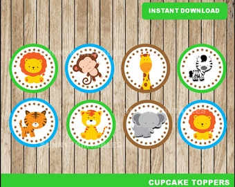 Safari cupcakes toppers; printable Safari baby shower toppers, Safari party toppers instant download
