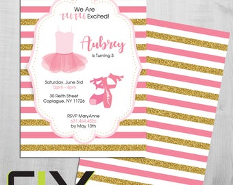 "Ballerina Tutu Birthday Party Invite (Front and Back Design, Digital File Option) 5""x7"""
