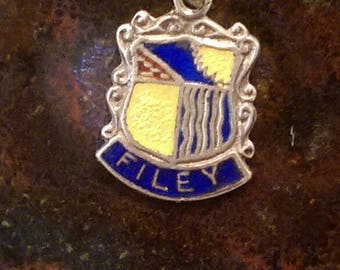Filey England vintage sterling silver enamel travel shield charm necklace pendant or keychain charm
