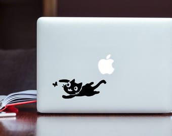 Original Decal Sticker Design of Kitty Playing with Butterfly UV-Rated Vinyl Sticker