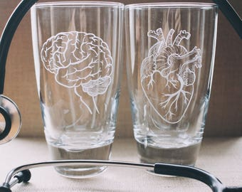 Brain and Heart Glass Engraved Cups