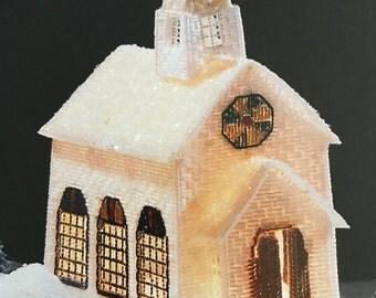 Winter Village in Plastic Canvas