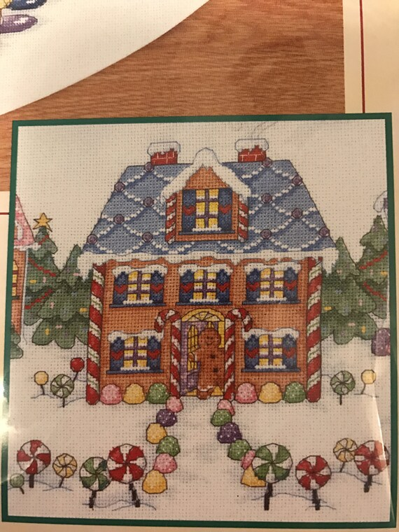 Dimensions Counted Cross Stitch Gingerbread Land Tree Skirt 45 Diameter From Thelittleblackbarn On Etsy Studio