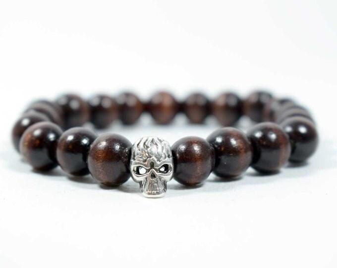 Men's Skull Bracelet with Wood Beads, in Dark Brown Shades.