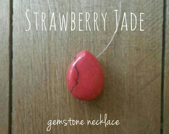 Strawberry Red Jade Teardrop Necklace - Red Gemstone Necklace, Dainty Necklace, Barely There Necklace, Red Jade Necklace, Simple Ncklace