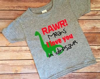 Boy Shirt, Dinosaur Shirt, Funny Shirt, Kids Shirt, Rawr Means I Love You In Dinosaur, Funny Kids Shirt, Funny Dinosaur Shirt