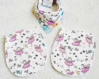 Baby square bib and burp cloth, baby shower gift, fairy angel bib and burp cloth set